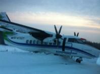 В Коми самолет затормозил в сугробе за пределами взлетно-посадочной полосы