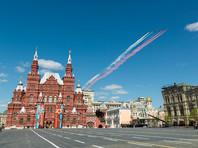 Штурмовики Су-25 БМ на генеральной репетиции военного парада в Москве, посвящённого 72-й годовщине Победы в Великой Отечественной войне 1941-1945 годов