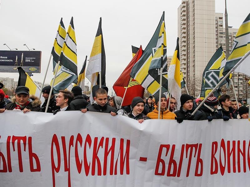 """В районе Люблино на юго-востоке Москвы 4 ноября, в День народного единства, проходит согласованная с властями акция """"Русский марш"""""""