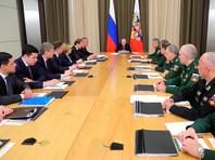 Президент РФ Владимир Путин проводит совещание с руководством министерства обороны РФ и представителями военно-промышленного комплекса (ВПК)