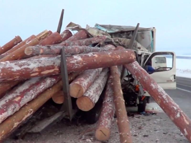 Под Иркутском молоковоз врезался в лесовоз, под бревнами погибли три человека