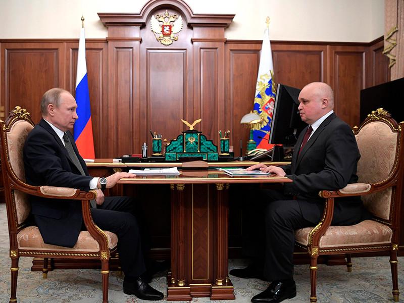 Президент Владимир Путин в Кремле провел рабочую встречу с временно исполняющим обязанности губернатора Кемеровской области Сергеем Цивилевым.