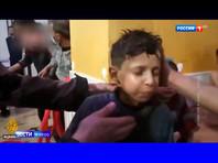 """По информации телеканала, одиннадцатилетний житель города Дума Хасан Диаб 7 апреля принял участие в постановочных съемках, которые распространила неправительственная организация """"Белые каски"""""""