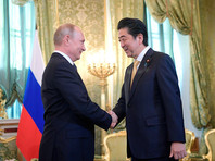 26 мая 2018 года, президент РФ Владимир Путин и премьер-министр Японии Синдзо Абэ во время встречи
