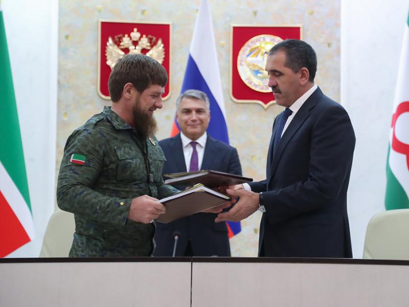 Главы Ингушетии и Чечни Юнус-Бек Евкуров и Рамзан Кадыров подписали соглашение об определении границы между своими регионами, предусматривающее обмен территориями