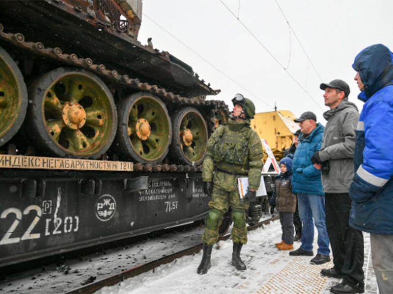 """По российским городам следует поезд """"Сирийский перелом"""" с выставленным для осмотра трофейным оружием сирийских исламистов"""