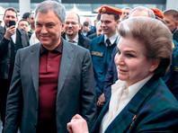 Вячеслав Володин и Валентина Терешкова в строящемся аэропорте «Гагарин» в Саратовском районе, 12 апреля 2019 года