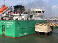 """Ространснадзор проведет расследование ЧП в Махачкалинском морском торговом порту, где во время перекачки нефтепродуктов с танкера """"В Ф Танкер 16"""" произошел хлопок газовоздушной смеси в машинном отделении"""