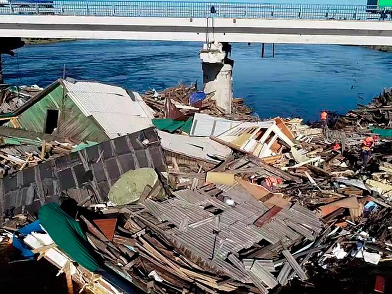 Унесенные во время наводнения дома в Тулуне, июль 2019 года