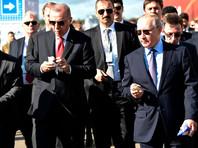 """Владимир Путин с Президентом Турции Реджепом Тайипом Эрдоганом во время посещения Международного авиационно-космического салона """"МАКС-2019"""""""