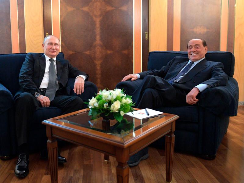 Владимир Путин и Сильвио Берлускони, 5 июля 2019 года