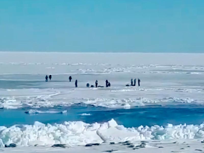 Около 600 рыбаков-любителей оказались отрезанными от берега на льдине в Корсаковском районе Сахалинской области