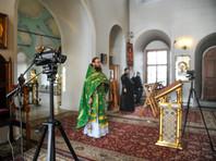 Праздничная литургия в Вербное воскресенье в Высоко-Петровском монастыре, Москва, 12 апреля 2020 года