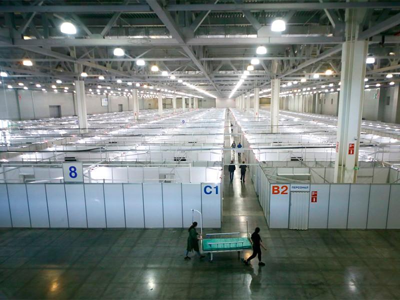 """Временный инфекционный центр для лечения больных коронавирусом на территории выставочного комплекса """"Крокус Экспо"""", 11 мая 2020 года"""