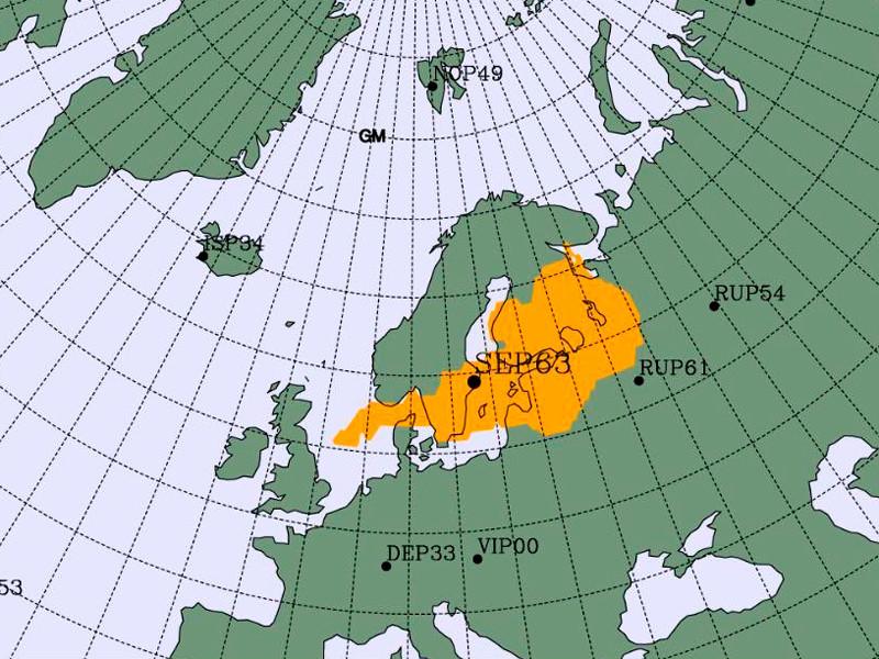 На карте желтым выделен район, где мог находиться источник изотопов