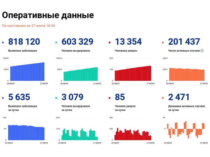 В России за последние сутки выявлено 5635 случаев коронавируса в 84 регионах, 85 человек скончались