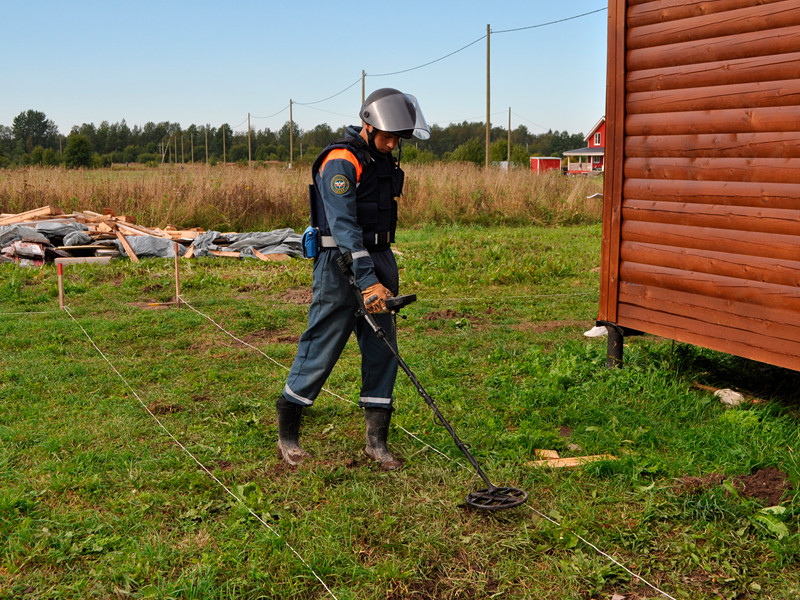 В поселке Молодцово Кировского района сотрудники МЧС России проводят разминирование территории