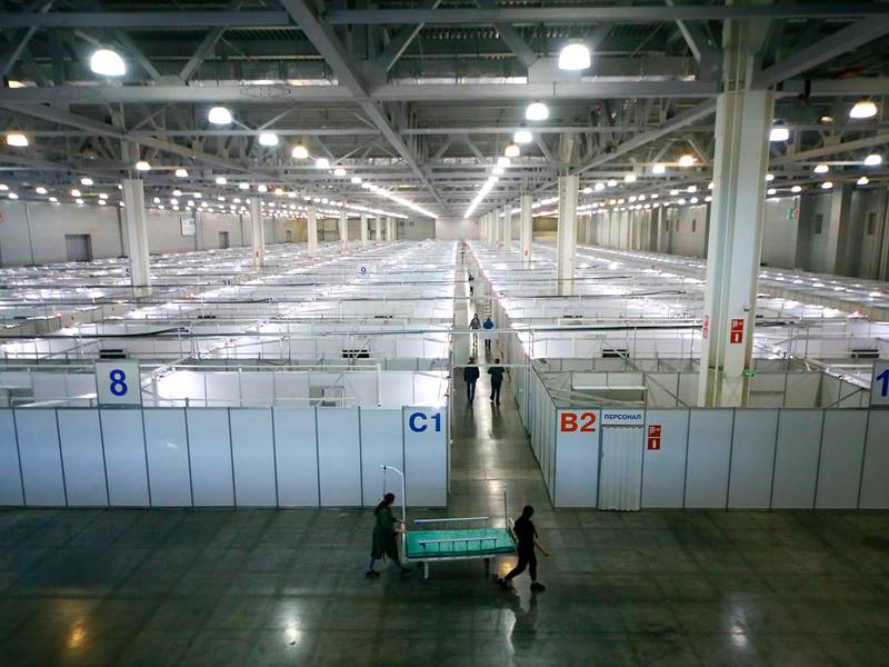 """Временный инфекционный центр для лечения больных коронавирусом на территории выставочного комплекса """"Крокус Экспо"""", май 2020 года"""
