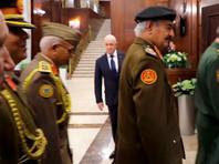 Евгений Пригожин на переговорах Сергея Шойгу с ливийским маршалом Хафтаром в Москве, ноябрь 2018 года