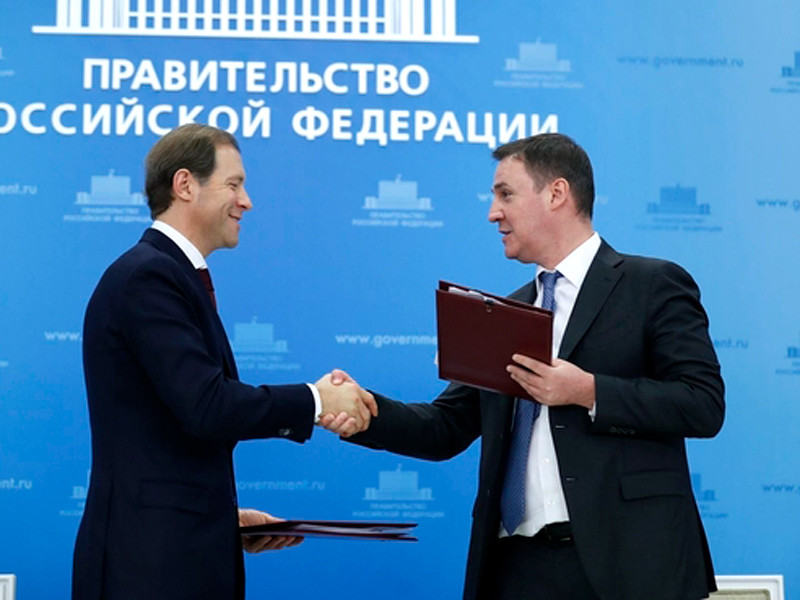 Денис Мантуров и Дмитрий Патрушев на подписании соглашений о стабилизации цен на сахар и подсолнечное масло