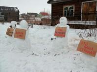 В Архангельской области разогнали митинг снеговиков с плакатами против Путина (ФОТО)