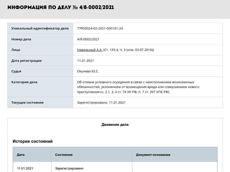 Федеральная служба исполнения наказаний (ФСИН) обратилась в Симоновский районный суд Москвы с иском о замене оппозиционному политику Алексею Навальному условного срока лишения свободы на реальный