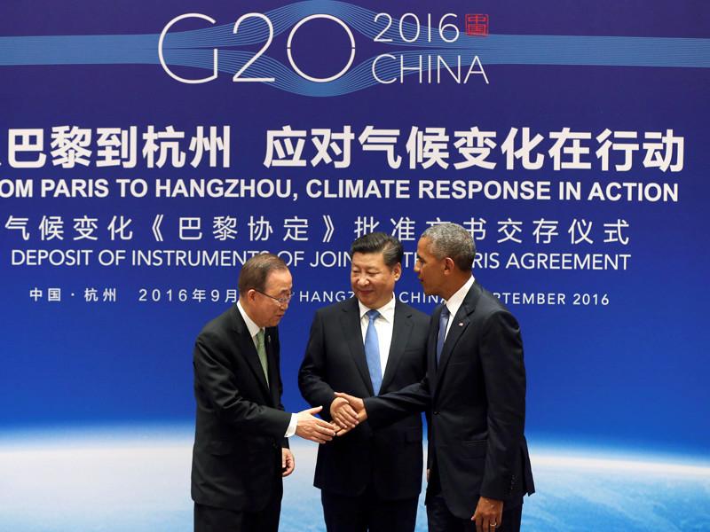 Президент США Барак Обама и председатель КНР Си Цзиньпин официально передали генеральному секретарю ООН Пан Ги Муну документы о ратификации двумя странами Парижского соглашения по климату