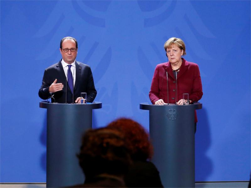 Франсуа Олланд и Ангела Меркель на совместной пресс-конференции в Берлине