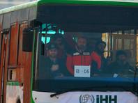 Во второй половине дня из долины Вади-Барада начали выезжать автобусы с боевиками
