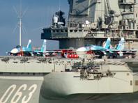 """Самолеты Су-33 на борту тяжелого авианесущего крейсера """"Адмирал Флота Советского Союза Кузнецов"""" во время прохода авианосной группы Северного флота России через пролив Ла-Манш, 21 октября 2016 года"""