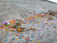 """На берег немецкого острова Лангеог, расположенного в Северном море, выбросило десятки тысяч пластиковых яиц с игрушками внутри, сообщает Associated Press. Побережье после сильного шторма оказалось усыпанным """"киндер-сюрпризами"""", к радости юных жителей острова"""