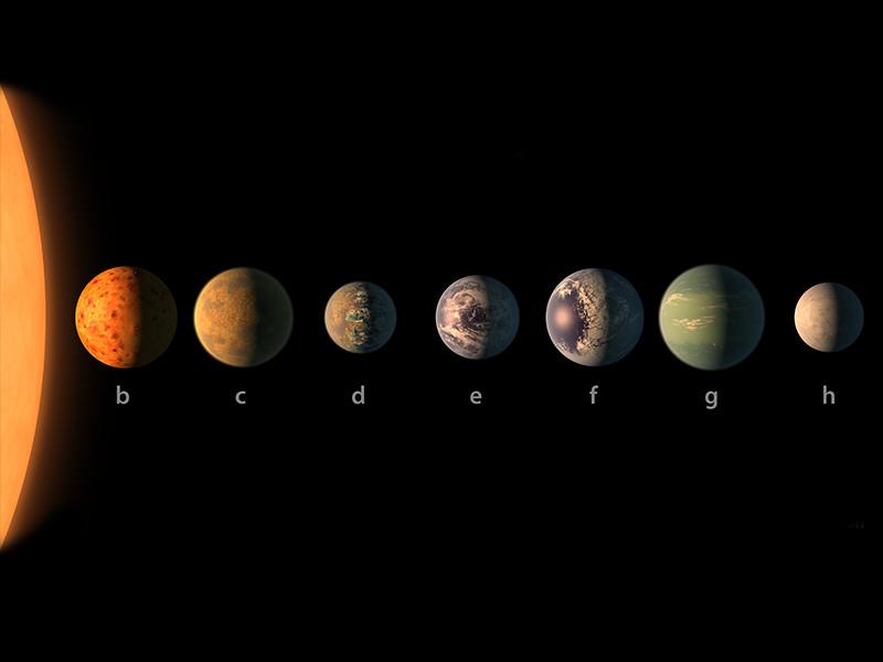Специалисты NASA обнаружили сразу семь аналогов планеты Земля вокруг открытой недавно звезды TRAPPIST-1 в созвездии Водолея