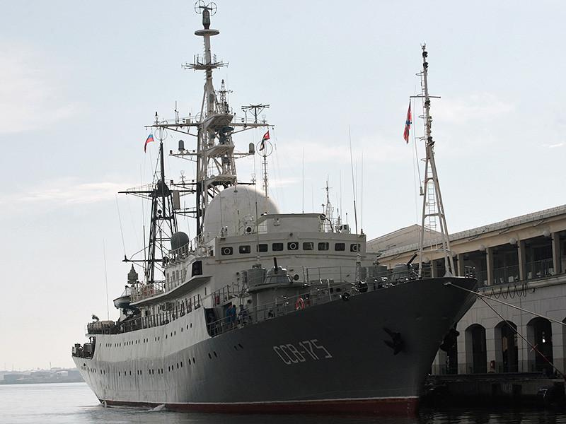 """Разведывательный корабль ВМФ России """"Виктор Леонов"""" в очередной раз замечен у восточного побережья США. Он находился приблизительно в 37 км юго-восточнее американской базы подводных лодок в Кингс-Бэй (штат Джорджия)"""