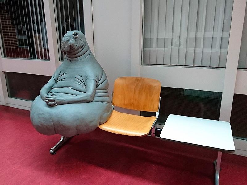 Официальное название этой скульптуры звучит как Homunculus Loxodontus. Художница говорит, что ее вдохновили пациенты, терпеливо сидящие в очереди