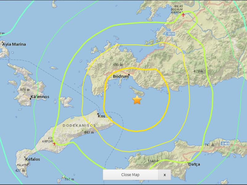 У побережья Турции произошло землетрясение магнитудой 6,7