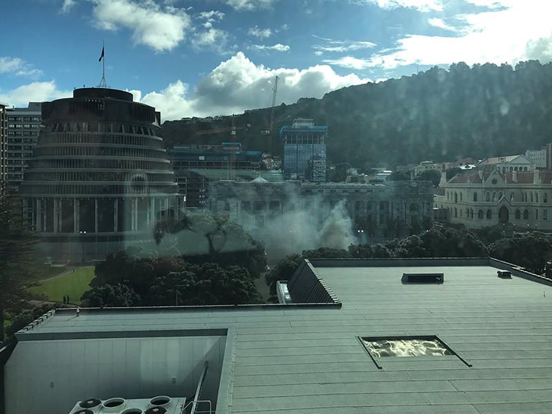 Несчастный отец поджег себя перед зданием парламента Новой Зеландии (ФОТО)