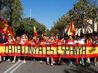 В Барселоне десятки тысяч людей вышли на митинг за единство с Испанией