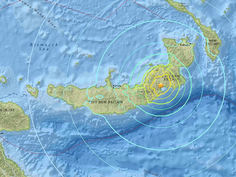 У южного берега острова Новая Британия, входящего в состав Папуа - Новой Гвинеи, произошло сильное землетрясение магнитудой 7,2.