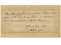 Трогательную записку  Эйнштейна для застенчивой   студентки-химика, которая отказала ему во встрече, продали за 6100 долларов
