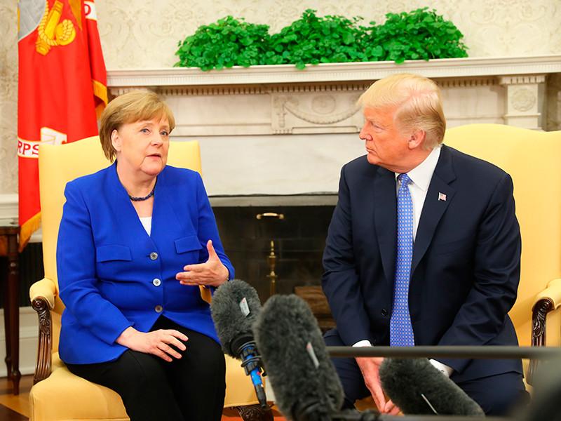 """Трамп и Меркель на встрече в Вашингтоне обсудили антироссийские санкции"""" />"""