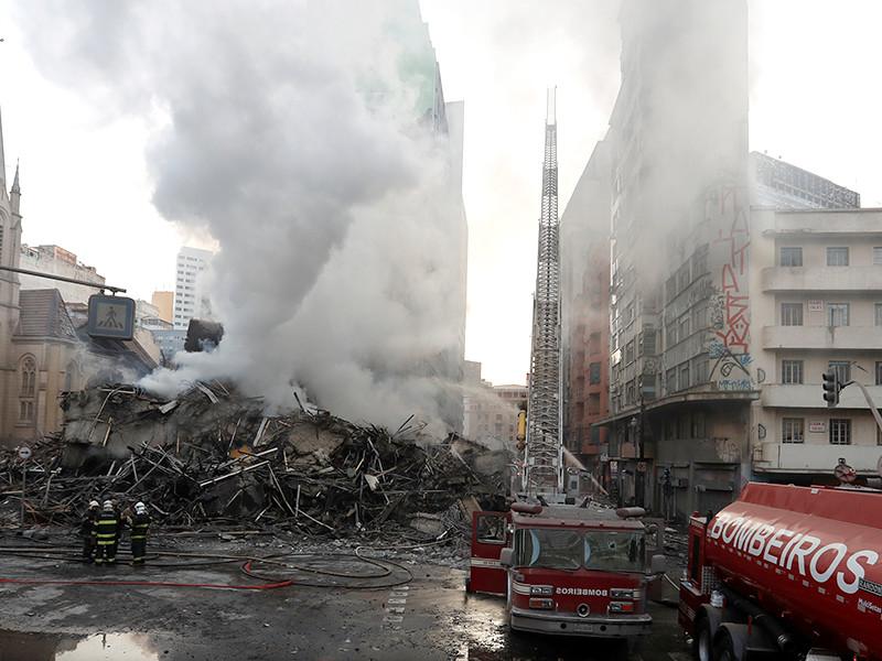Высотный дом в Сан-Паулу обрушился из-за пожара, вызванного семейной ссорой
