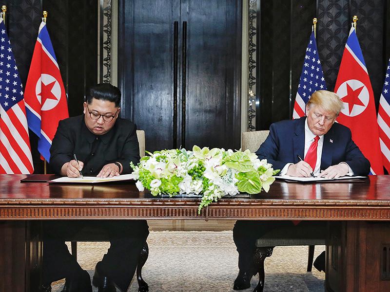 """Северокорейские СМИ с задержкой окрестили саммит в Сингапуре """"встречей века"""""""" />"""