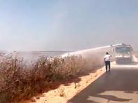 Пожар возле киббуца Нахаль Оз