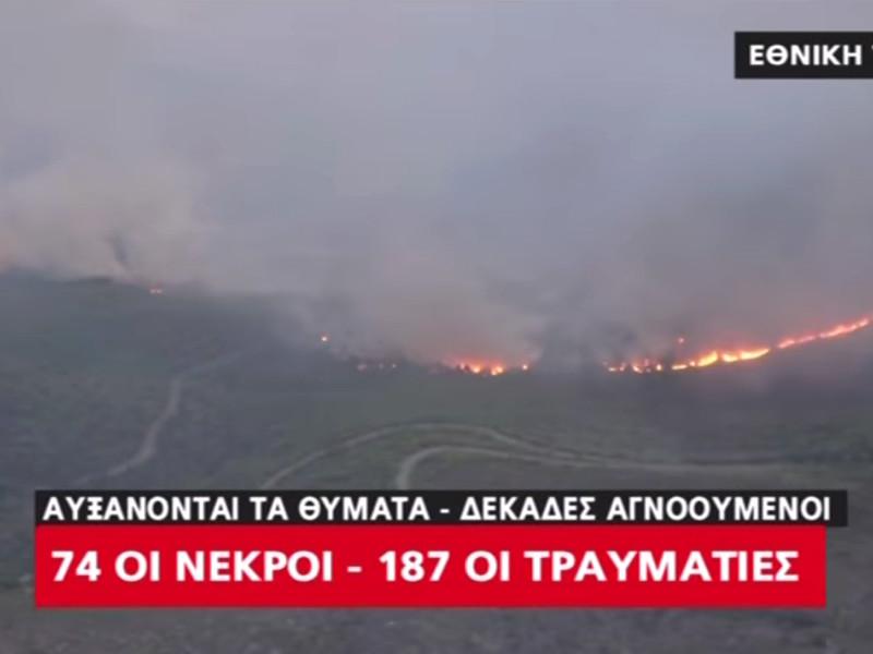 """Число жертв лесных пожаров в Греции выросло до 74 человек"""" />"""