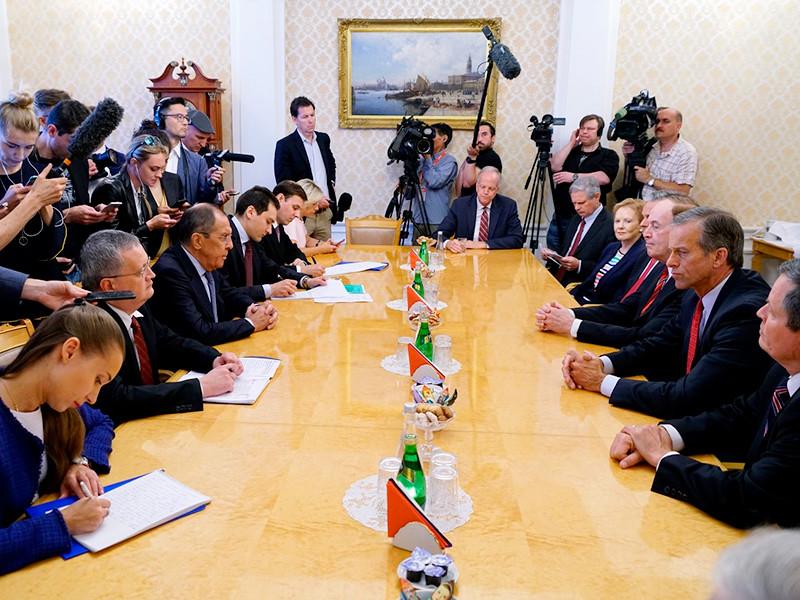 Министр иностранных дел Российской Федерации С.В.Лавров встретился с делегацией Конгресса США во главе с сенатором Ричардом Шелби, 3 июля 2018 года