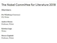 Новый Нобелевский комитет будет состоять из пяти членов академии - писателей Пера Вестберга (председатель) и Андерса Ульссона, историка Хораса Энгдаля, поэтов Кристины Лугн и Йеспера Свенбу, а также пятерых экспертов, в том числе критиков и издателя, которые не входят в состав этого учреждения