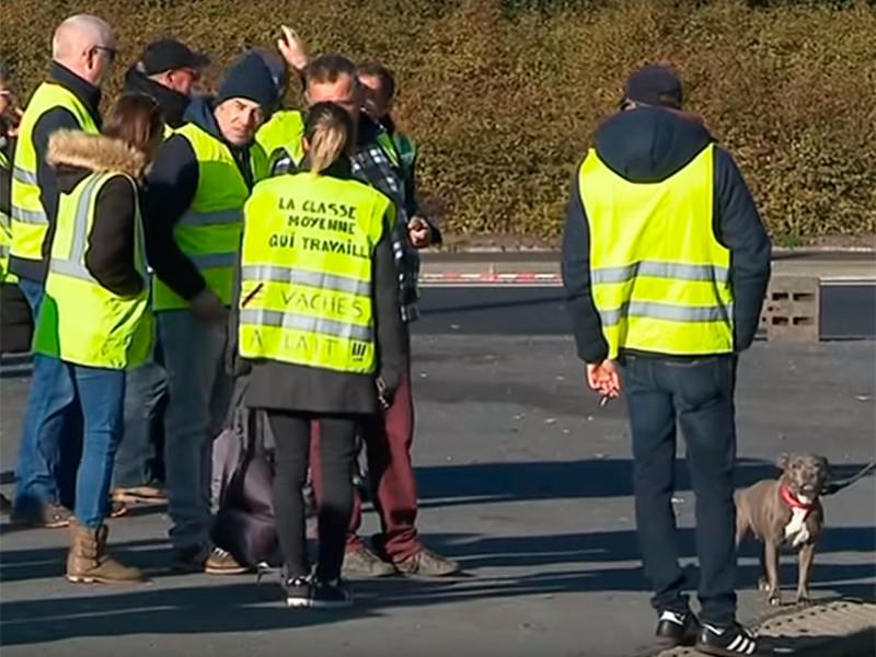 """Во Франции """"желтые жилеты"""", протестующие против налога на топливо, блокировали подъезды к топливохранилищам"""" />"""