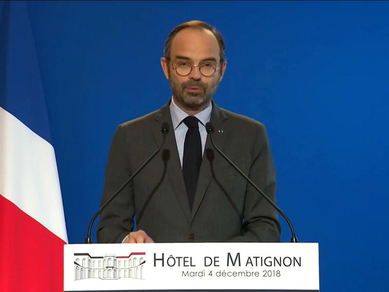 О намерении премьер-министра Франции Эдуара Филиппа объявить о моратории во вторник, 4 декабря