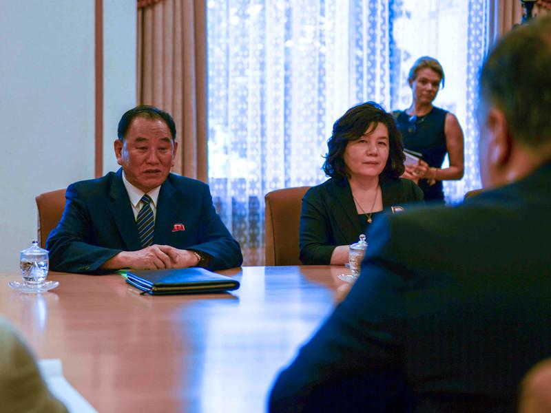 Ким Ён Чхоль и Майк Помпео, 6 июля 2018 года