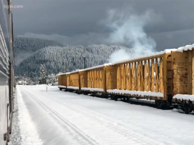 На северо-западе США из-за зимнего шторма в снегах на 40 часов застрял поезд со 183 пассажирами